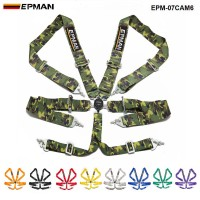 "EPMAN Universal Jdm One 6 Point Racing Safety Harness Camlock 3"" Steap Seat Belt Red EPM-07CAM6"