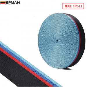 EPMAN Universal 100Meters/Roll Seat Belt Red Blue Black Mixed-Color Webbing For BMW E F M Series Racing chair EPWR2021M-100