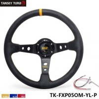 350mm/3inch Deep Dish PVC Sport Racing Steering Wheel + Horn Button 350MM Car Steering Wheel Modified Auto Racing steering wheel refires PVC steering wheel (color:yellow red blue)TK-FXP05OM-P
