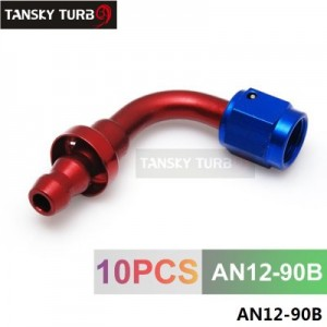 TANSKY - 12AN AN12 12-AN 90 Degree SWIVEL OIL/FUEL/GAS LINE HOSE END PUSH-ON MALE FITTING AN12-90B