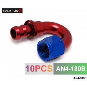 TANSKY - 4AN AN4 4-AN 180 Degree SWIVEL OIL/FUEL/GAS LINE HOSE END PUSH-ON MALE FITTING AN4-180B