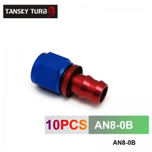 TANSKY - 8AN AN8 8-AN STRAIGHT SWIVEL OIL/FUEL/GAS LINE HOSE END PUSH-ON MALE FIT TING AN8-0B