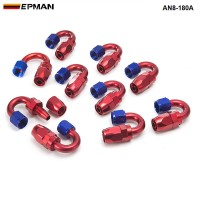 EPMAN -10pcs Universal AN8 8-AN 180 Degree Aluminum Oil/Fuel Line Hose End Fitting AN8-180A