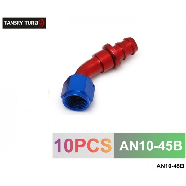 TANSKY -10AN AN10 10-AN 45 Degree SWIVEL OIL/FUEL/GAS LINE HOSE END PUSH-ON MALE FITTING AN10-45B