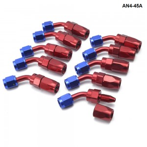 10PCS/LOT AN4 Pipe joints Aluminum 45 Degree Swivel Oil/Fuel Fitting Adaptor Oil cooler hose fitting AN4-45A