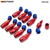 EPMAN - 10pcs /set 45 Degree AN6 Aluminum Oil cooler Hose Fitting Fuel Push-On Hose End fittings Adaptor AN6-45A