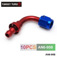 TANSKY - 6AN AN6 6-AN 90 Degree SWIVEL OIL/FUEL/GAS LINE HOSE END PUSH-ON MALE FITTING AN6-90B