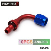 TANSKY - 8AN AN8 8-AN 90 Degree SWIVEL OIL/FUEL/GAS LINE HOSE END PUSH-ON MALE FITTING AN8-90B