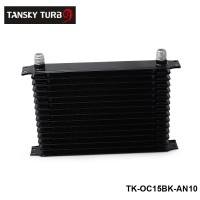 Tansky -- Racing Aluminum 15 Row AN-10 AN Transmission Oil Cooler Tank Core Black Color TK-OC15BK-AN10