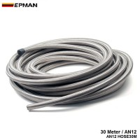 EPMAN -AN12 30M Stainless Steel Braided Racing OiL Cooler/Fuel Pump/Fuel Regulater Hose Fuel Oil Line  EP-AN12 HOSE30M