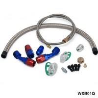 TANSKY - T3 T4 T3/T4 T70 T66 TO4E Turbo Oil Feed Line Oil Return Line Oil Drain Line Kit blue and red TK-WXB01Q