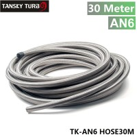 "TANSKY - Stainless Steel Braided 6AN AN-6 15k-PSI Oil/Fuel Hose/Line ID 1/4"" 30M TK-AN6 HOSE30M"
