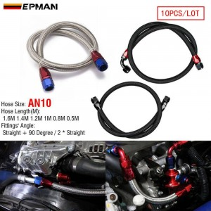 """EPMAN 10PCS/LOT 55"""" 10AN Stainless Steel Braided Oil/Fuel Line w/ Fitting Hose End Adapter"""