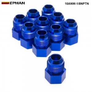 EPMAN-10PCS/LOT Fitting Flare Reducer Female -1/8NPT to Male -10 AN Blue Oil/Fuel Fitting Adapter 10ANW-1/8NPTN