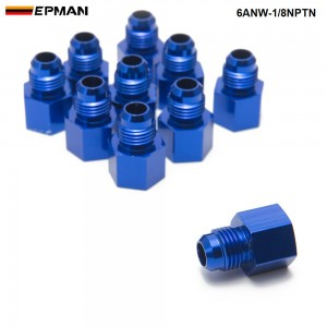 EPMAN --10PCS/LOT Fitting Flare Reducer Female -1/8NPT to Male -6AN Blue Aluminum Nickel Plated 6ANW-1/8NPTN