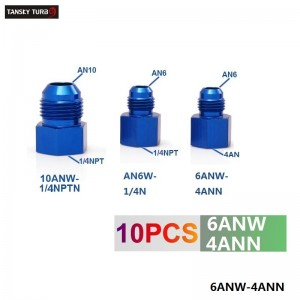 Tansky -- Fitting Flare Reducer Female 4AN to Male -6AN Blue Aluminum Nickel Plated 6ANW-4ANN