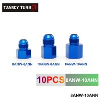 Tansky - Fitting Flare Reducer Female-10 AN to Male -8 ANBlue Flare Reducers Alloy Fitting 8ANW-10ANN