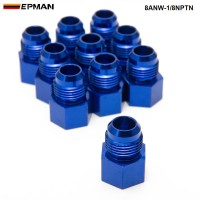 EPMAN -10PCS/LOT Fitting Flare Reducer Female -1/8NPT to Male -8AN Blue Oil/Fuel Fitting 8ANW-1/8NPTN