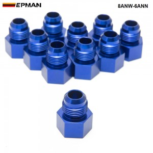 EPMAN -10PCS/LOT Fitting Flare Reducer Female -6 AN to Male -8AN Blue Flare Reducers Alloy Fitt 8ANW-6ANN
