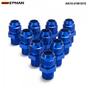 EPMAN-10PCS/LOT Aluminum Straight Fuel Fittings Adaptor Male Blue Thread For All Oil coole / Fuel Tank Line AN10-01M1815