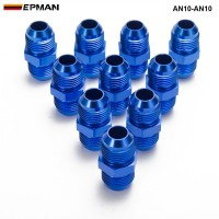 EPMAN -10PCS/LOT Aluminum Straight Fuel Fittings Adaptor Male Blue AN10-AN10 Thread For All Oil coole / Fuel Tank Line AN10-AN10