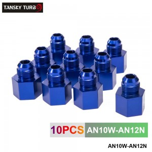TANSKY -10pcs Blue Aluminum Fuel Fitting Adapter Straight Female > Male Flare Reducer -12AN-10AN  AN10W-AN12N