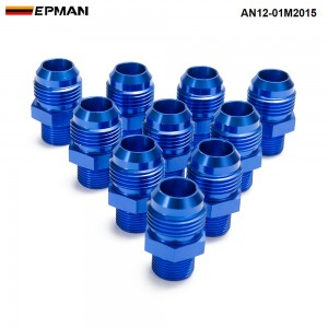 EPMAN -10PCS/LOT Blue Male Blued Anodized Aluminum Union Adapter Fittings For All Oil coole / Fuel Tank AN12-01M2015