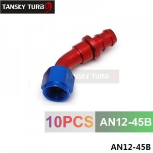 TANSKY -12AN AN12 12-AN 45 Degree SWIVEL OIL/FUEL/GAS LINE HOSE END PUSH-ON MALE FITTING AN12-45B