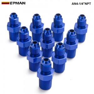 EPMAN -10PCS/LOT 4AN 4 AN -4 Male to Male 1/4''NPT Straight Flare to Pipe Thread Fitting Adapter AN4-1/4''NPT