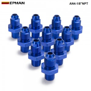 EPMAN - 10PCS/LOT AN -4 AN4 Flare to 1/8 NPT Straight Male Oil Cooler Fuel Oil Hose Fitting Adapter AN4-1/8''NPT