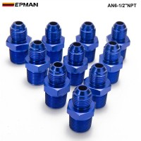 EPMAN - 10PCS/LOT AN6-1/2''NPT Straight Male Oil Cooler Fuel Oil Hose Fitting Adapter AN6-1/2''NPT