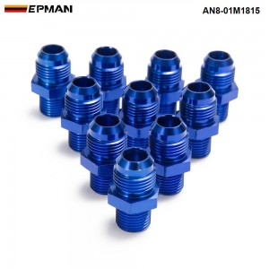 EPMAN - 10PCS/LOT AN8 - M18*1.5 Straight Flare To Pipe Thread Fitting Adapter For Oil Cooler Fuel Line /Oil Hose AN8-01M1815