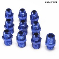 10PCS/LOT Straight Male Oil Cooler Fuel Oil Hose Fitting Adapter AN8-1/2''NPT