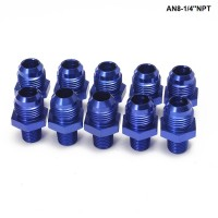 10PCS/LOT Straight Male Oil Cooler Fuel Oil Hose Fitting Adapter AN8-1/4''NPT