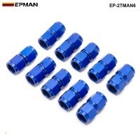 10PCS/SET Blue AN6 Universal Fuel Oil Fitting Aluminum Hose End Adaptor 2 Side Female Fitting EP-2TMAN6