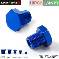 "TANSKY - 1/4"" NPT ALUMINUM FITTING HEX HEAD PLUG CAP THREADED Blue TK-FT14NPT"
