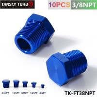 "TANSKY - 3/8"" NPT ALUMINUM FITTING HEX HEAD PLUG CAP THREADED Blue TK-FT38NPT"