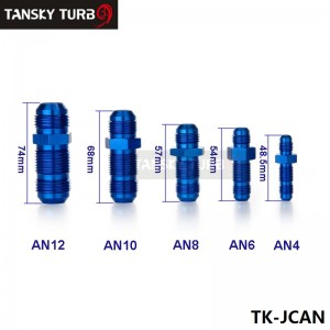 TANSKY - AN-8 to AN-8 FlARE BULKHEAD STRAIGHT MALE FUEL OIL HOSE FITTING ADAPTER BLUE TK-JCAN8