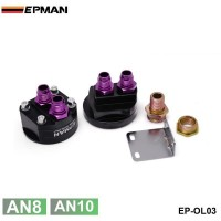 EPMAN (AN10,AN8) BLACK OIL FILTER SENDER SANDWICH PLATE COOLER ADAPTER KIT 3/4X16,20X1.5 EP-OL03BK