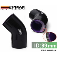 """Tansky - EPMAN 3.5"""" 45 DEGREE HOSE TURBO SILICONE 89MM ELBOW COUPLER PIPE BLACK COLOR EP-SS45RS89"""