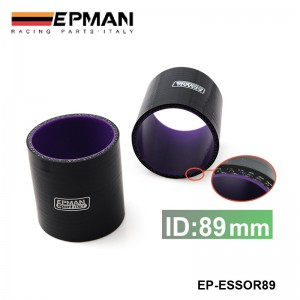 """EPMAN 3.5"""" 89mm  4-Ply Straight Silicone Hose Intercooler Coupler Tube Pipe BLACK EP-ESS0R89"""