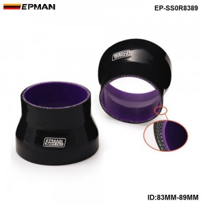 EPMAN- Black 83mm-89mm TURBO INTAKE SILICONE Straight Reducer Hose Pipe Coupler 4-ply Universal EP-SS0R8389