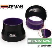 "Tanksy -- EPMAN 3""-4.49"" 76mm-114mm INCH PIPE TURBO SILICONE 3-PLY REDUCER HOSE BLACK EP-SS0R76114"